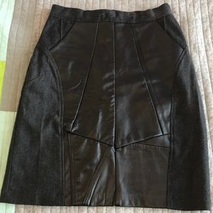 Dresses & Skirts - Grey/Black Wool and Leather Pencil Skirt